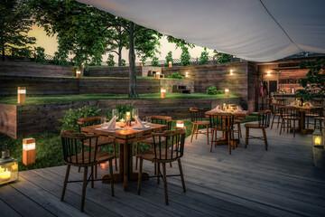 Fototapeta Inside Garden Pub & Restaurant (project) - 3d visualization obraz