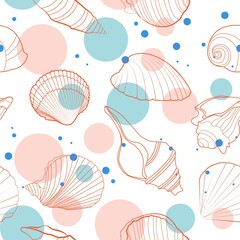 Freshness vibes seashells seamless pattern