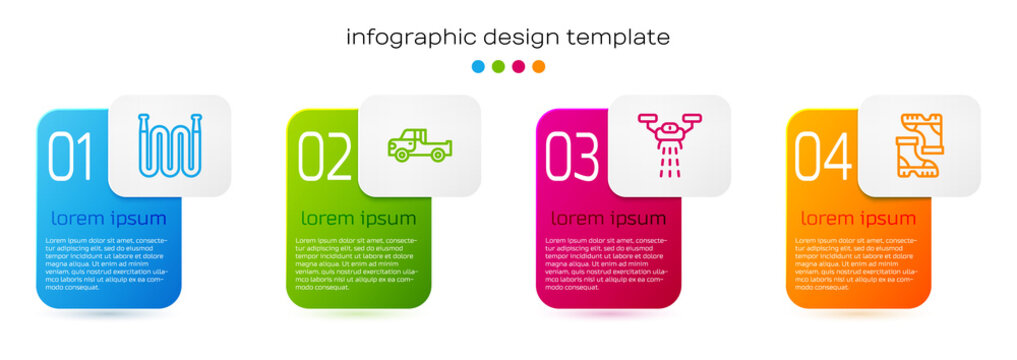 Set line Garden hose, Pickup truck, Smart farm with drone and Waterproof rubber boot. Business infographic template. Vector