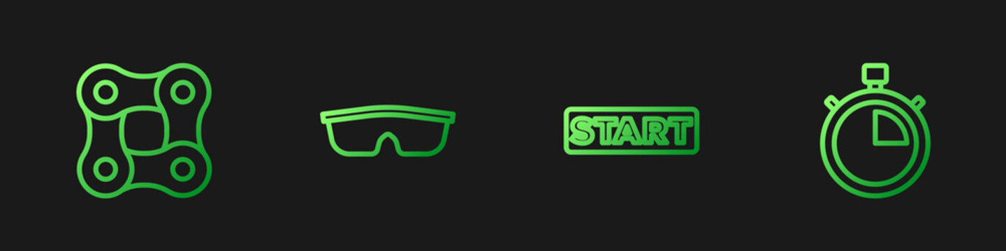 Set line Ribbon in finishing line, Bicycle chain, Sport cycling sunglasses and Stopwatch. Gradient color icons. Vector