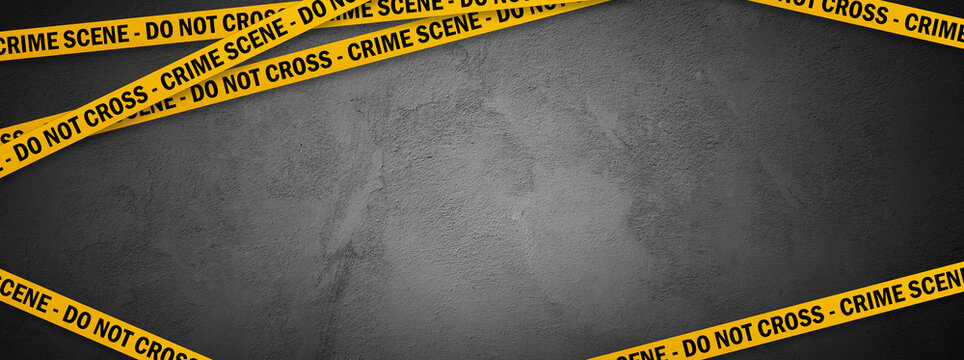 Yellow police line - do not cross on concrete wall background with copy space. Crime scene dark banner for true crime stories or investigations podcast.