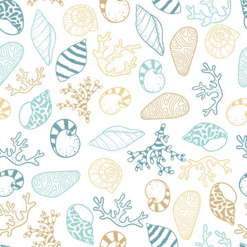 Cute hand drawn sea shells seamless pattern, summer background, great for textiles, banners, wallpapers - vector design