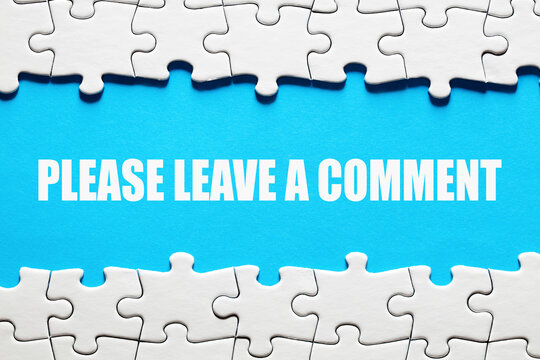 Please leave a comment message framed by jigsaw puzzle pieces. Customer feedback, evaluation or opinion