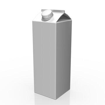 3d, Tetrapak, Trinkbehälter mit schraubverschluß grau - weiß, isoliert