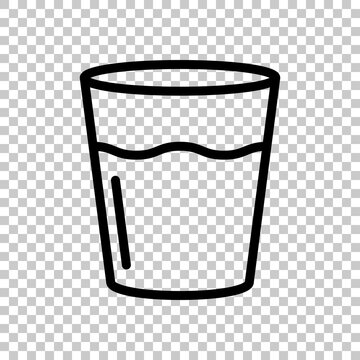 Glass of water, cup with drink, simple icon. Black editable linear symbol on transparent background