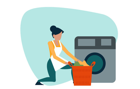 Vector of a woman doing laundry