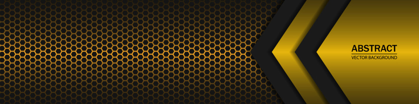 Black and yellow arrow shapes on a gold hexagonal carbon fiber texture. Geometric shapes on a hexagonal gold grid.