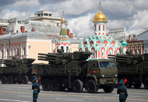 Russian Pantsir-S anti-aircraft missile and gun systems drive during a rehearsal for the Victory Day military parade in Moscow