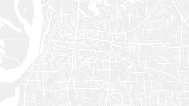 Light grey and white Memphis city area vector background map, streets and water cartography illustration.