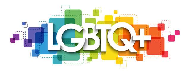 Fototapeta LGBTQ+ colorful rainbow gradient vector typography banner on white background obraz