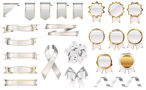 ホワイト メダル バッジ リボン セット アイボリー リアル