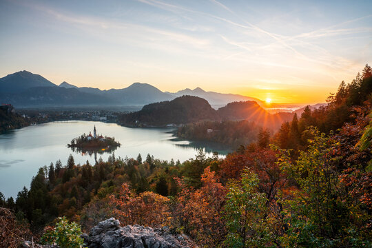The silence of the ancient cities of Europe. Panoramic morning view of the Pilgrimage Church of the Assumption of Mary. Exciting autumn scene of Lake Bled, Julian Alps, Slovenia, Europe.