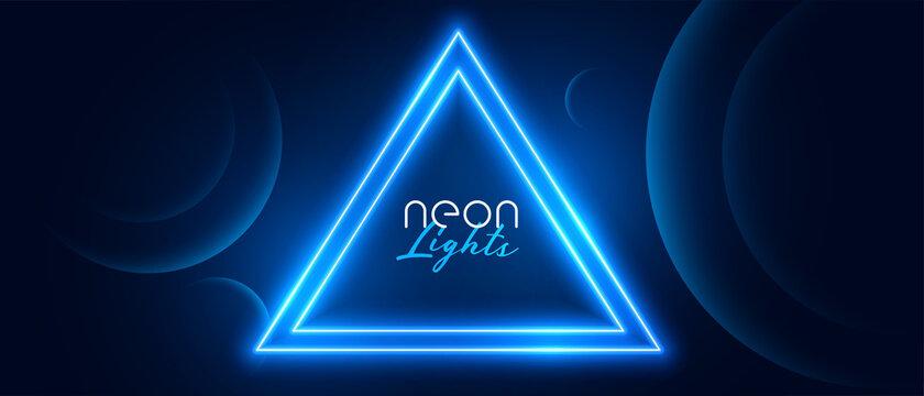 blue neon circle light frame banner design
