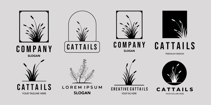set of cattails or Cat tail line art minimalist simple vector logo icon illustration design