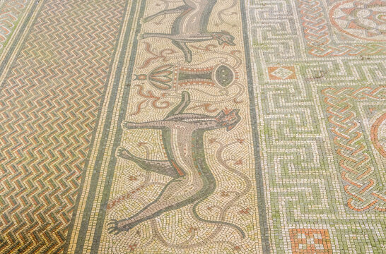Close up of large Roman Mosaic near Littlecote House Wiltshire