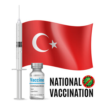 Flag of Turkey with Vaccine Immunization Syringe and the Vial of Antibiotic for Vaccination. Concept of Health Care and National Vaccination with Turkish flag