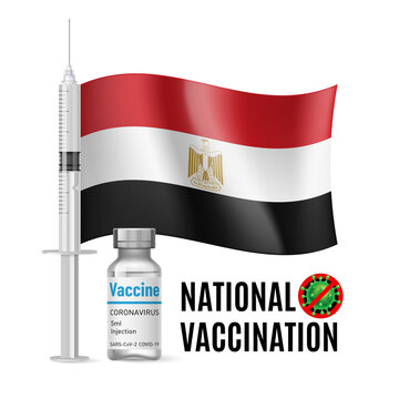 Flag of Egypt with Vaccine Immunization Syringe and the Vial of Antibiotic for Vaccination. Concept of Health Care and National Vaccination with Egyptian flag