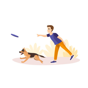 Vector illustration in cartoon style isolated on white background. Man throwing frisbey to his pet. Playing Fetch with german shepherd. Aport command training. Flat design