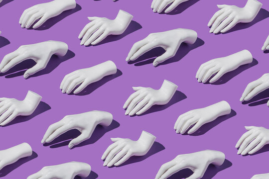 Artificial pattern with human hands on purple background. Minimal creative futuristic concept.