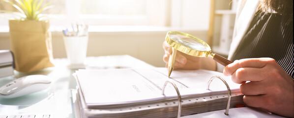 Obraz Fraud Investigation And Tax Audit. Investigator Or Auditor - fototapety do salonu