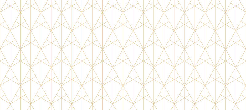Golden lines pattern. Vector geometric seamless texture with subtle grid, thin lines, triangles, diamonds, rhombuses. Abstract luxury white and gold background. Art deco ornament. Wide repeat design