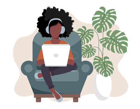 Home office concept, woman working from home, student or freelancer. Vector illustration in flat style