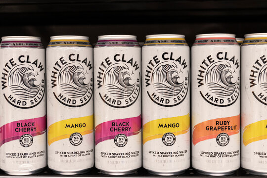 White Claw Hard Seltzer display. In 2019, White Claw accounted for over half of all total hard seltzer sales in the US.