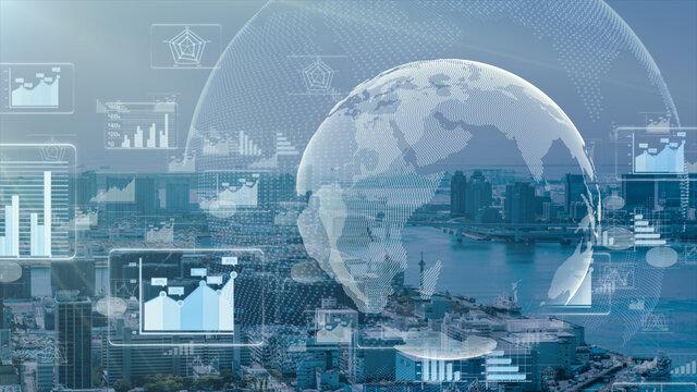 デジタル営業 在宅勤務 テレワーク IoTによる大都市のデジタル化 背景画像のイメージ