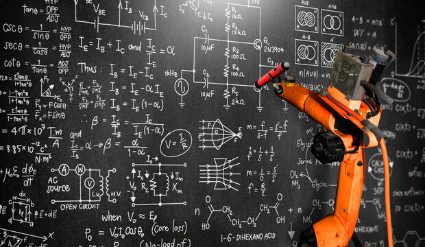 Robot arm AI analyzing mathematics for mechanized industry problem solving . Concept of robotics technology and machine learning for automated manufacturing process .