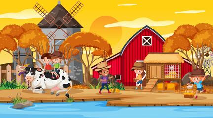 Farm scene with many kids cartoon character and farm animals