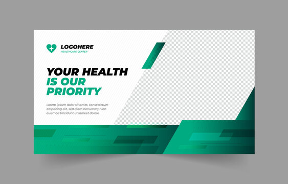 Medical web banner template and YouTube thumbnail design Layout. Video thumbnail template