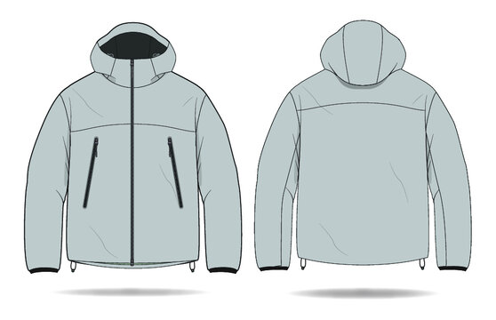 Hooded Windbreaker Rain Jacket Design Vector Template