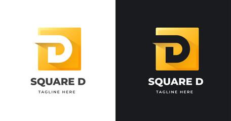 Fototapeta Letter initial D logo design template with square shape design vector illustration obraz