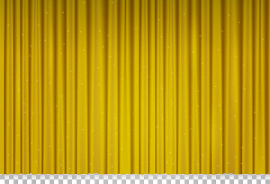 Golden velvet curtain in theater or cinema. Vector realistic closed yellow stage curtains with shimmer and sparkles. Gold fabric drapes with glitter in opera isolated on transparent background