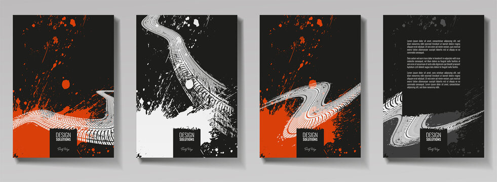 Tire tracks, vector illustration, grunge. For background page, brochure template, booklet, flyer.