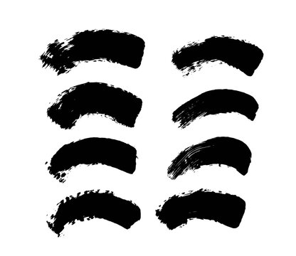 Arc Shape Grunge Brush Strokes Set