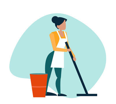 Vector of a young woman cleaning mopping floor.