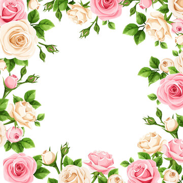 Vector background frame with pink and white rose flowers.