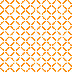 Simple seamless pattern made with lines, X cross geometric pattern, shapes with orange color, white background