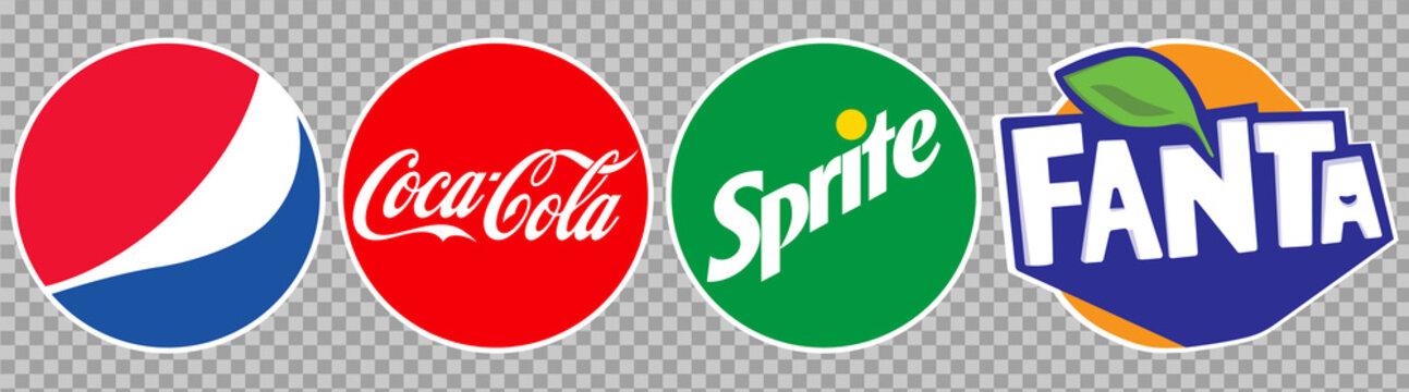 Vinnytsia, Ukraine - May 6, 2021: Most Popular Soft Drinks Logo: Pepsi, Coca-Cola, Sprite, Fanta. Editorial vector icons isolated on transparent background