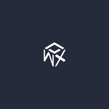 WX initial hexagon logo design