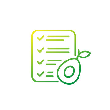 diet plan line icon with avocado