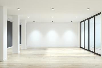 Fototapeta Illustration 3D rendering large luxury modern bright interiors Living room mockup computer digitally generated image obraz