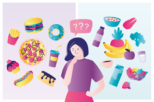 Icons of healthy food and fastfood. Cute woman chooses between healthy and unhealthy food. Different sweets and snacks. Various vegetables.