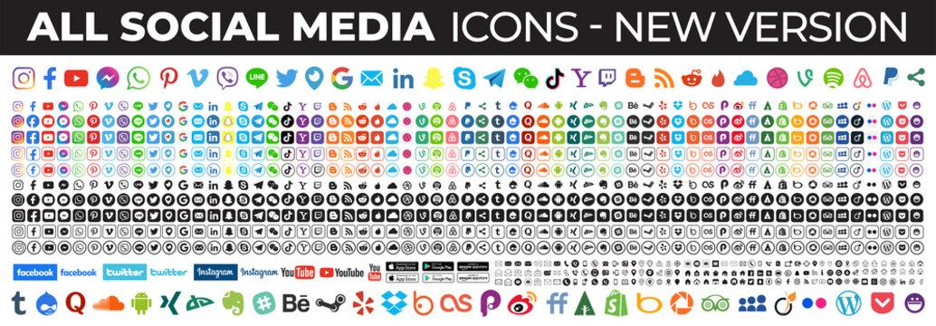social media icons. Facebook, instagram, twitter, youtube, linkedin, tiktok, google, linkedin, whatsapp, snapchat,...