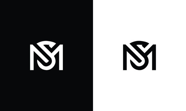 Creative modern elegant trendy unique black and white color MS SM M S initial based letter icon logo.