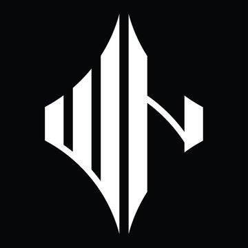 WN Logo monogram with diamond shape design template
