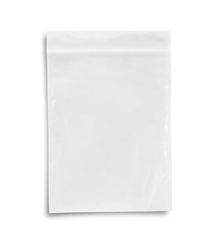 Plastic zipper bag on white background, This has clipping path.
