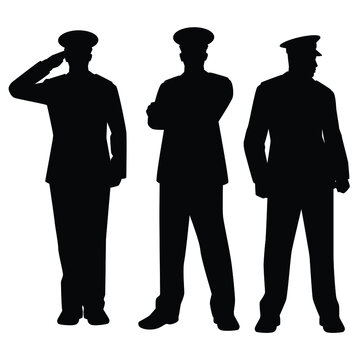 Set of soldier officer silhouette on white background
