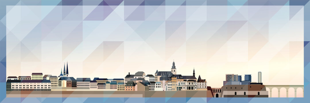 Luxembourg City skyline vector colorful poster on beautiful triangular texture background